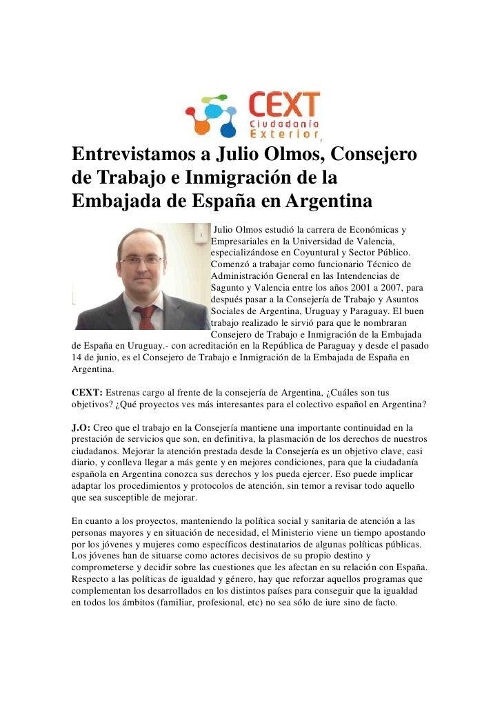Entrevistamos a Julio Olmos, Consejero de Trabajo e Inmigración de la Embajada de España en Argentina