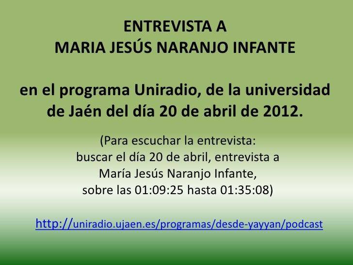 Entrevista radio jaén a Maria Jesus Naranjo Infante
