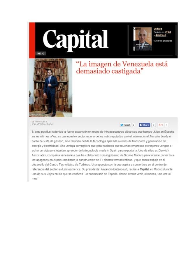 La revista Capital entrevista a Alejandro Betancourt Lopez, presidente de Derwick