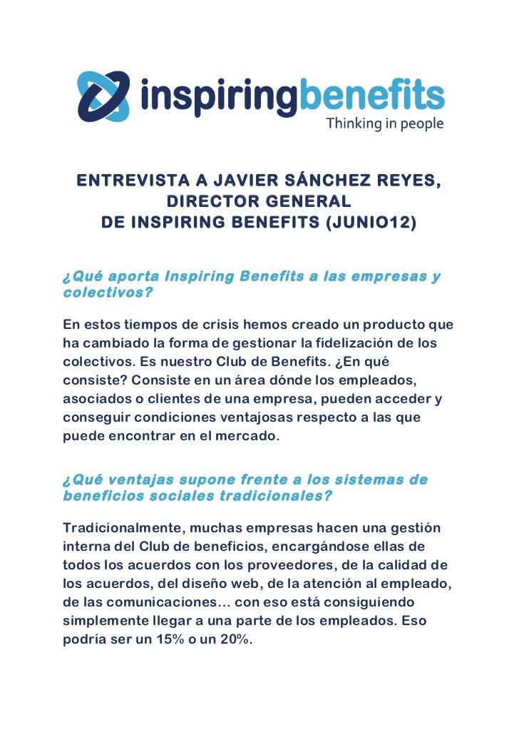 Javier Sánchez Reyes: La aportación de Inspiring Benefits a los sistemas de beneficios sociales (texto)