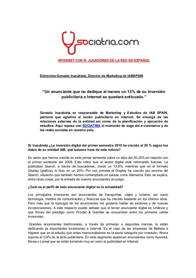 Entrevista Sociatria: 2. Gonzalo Iruzubieta Dtor Mkt IAB Spain OCT10