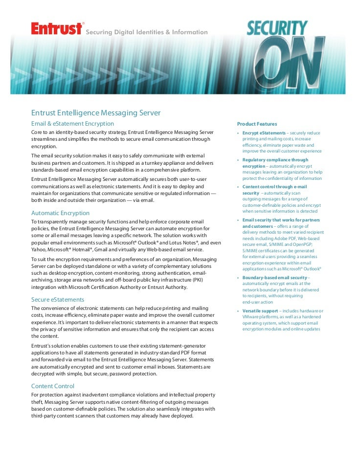 Entrust Entelligence Messaging ServerEmail & eStatement Encryption                                                        ...