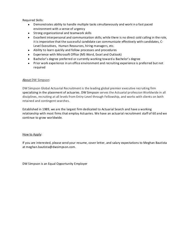 Resume Data Entry. Entry Level Assistant Recruiter Or Intern Job  Description .