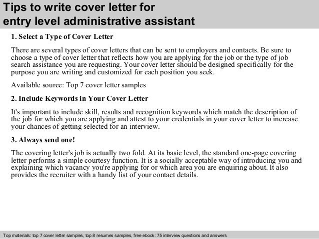 Sample entry level administrative assistant cover letter