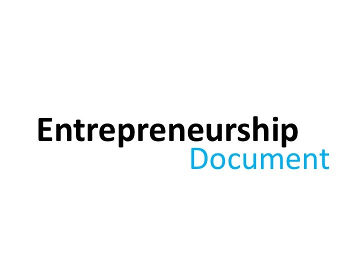 Entrepreneurship         Document