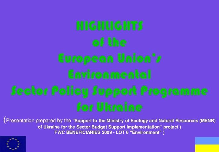EU Environmental Budget Support to Ukraine