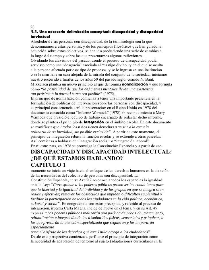 231.1. Una necesaria delimitación conceptual: discapacidad y discapacidadintelectualAlrededor de las personas con discapac...