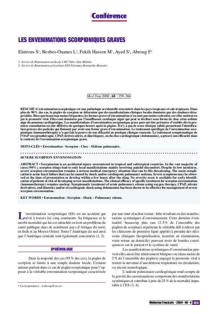 ConférenceLES ENVENIMATIONS SCORPIONIQUES GRAVESElatrous S1, Besbes-Ouanes L2, Fekih Hassen M1, Ayed S1, Abroug F21. Servi...