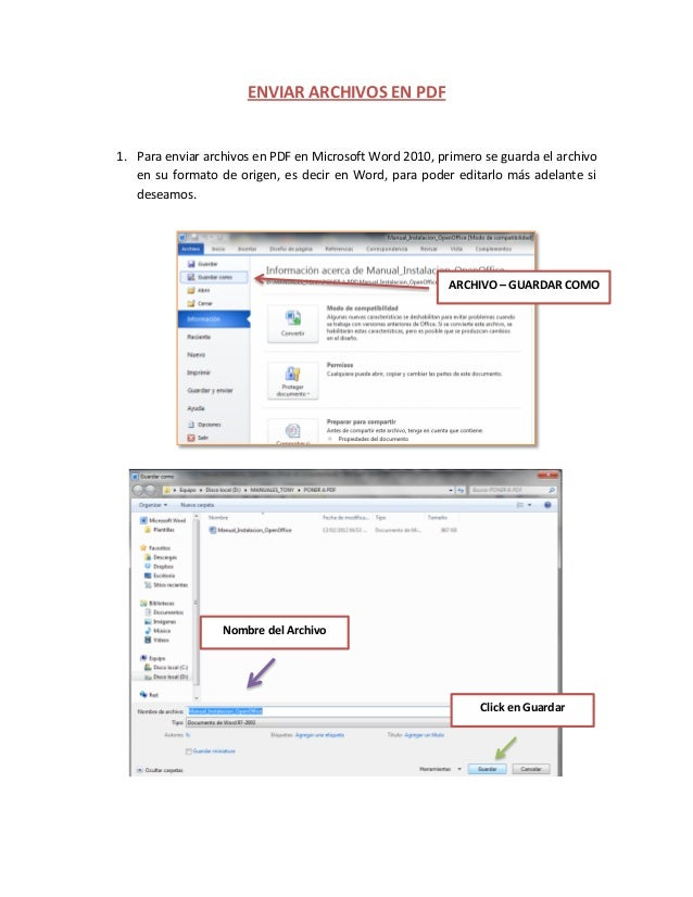 ENVIAR ARCHIVOS EN PDF 1. Para enviar archivos en PDF en Microsoft Word 2010, primero se guarda el archivo en su formato d...