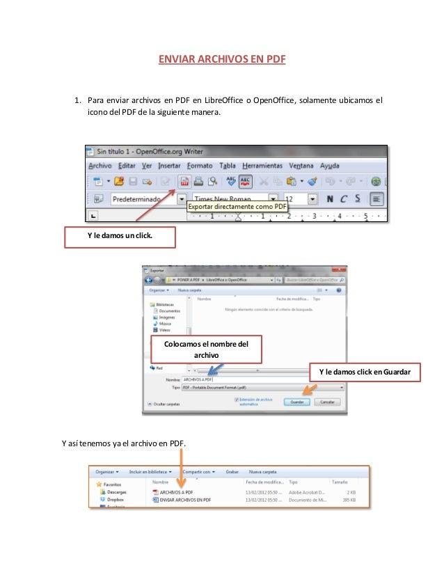 Enviar archivos en pdf open office
