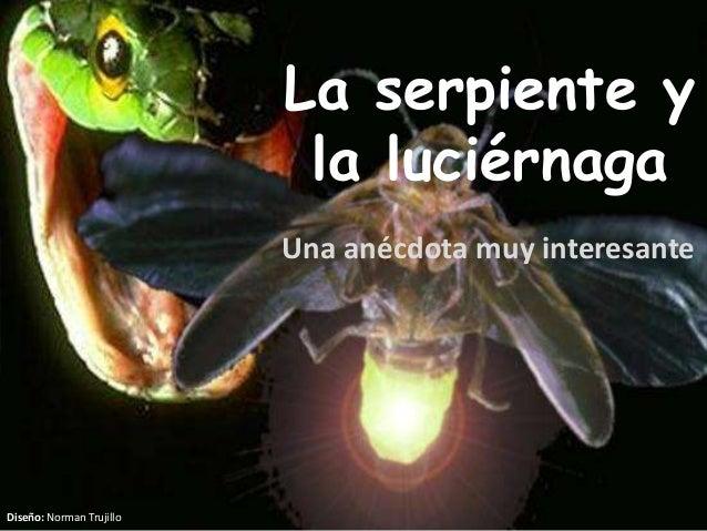 La serpiente y la luciérnaga Una anécdota muy interesante Diseño: Norman Trujillo