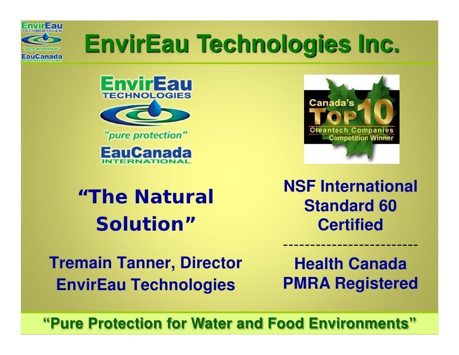 "EnvirEau Technologies Inc.                                    NSF International     ""The Natural                   Standar..."
