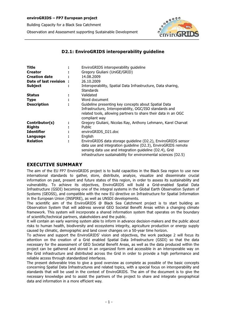 D2.1 EnviroGRIDS interoperability guideline