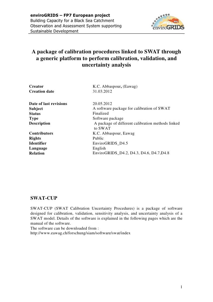 D4.5 A package of calibration procedures linked to SWAT through a generic platform to perform calibration, validation, and uncertainty analysis