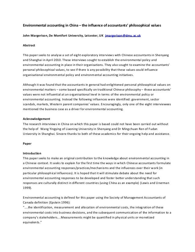 Environmental accounting in China – the influence of accountants' philosophical values John Margerison, De Montfort Univer...