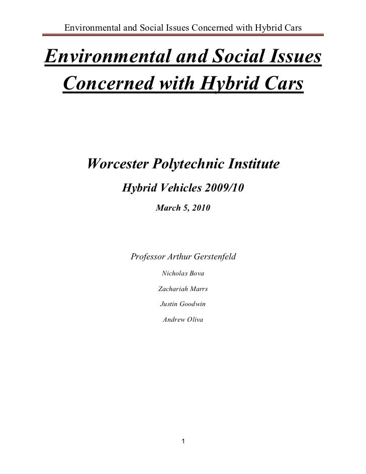 Environmental and Social Issues Concerned with Hybrid CarsEnvironmental and Social Issues Concerned with Hybrid Cars      ...