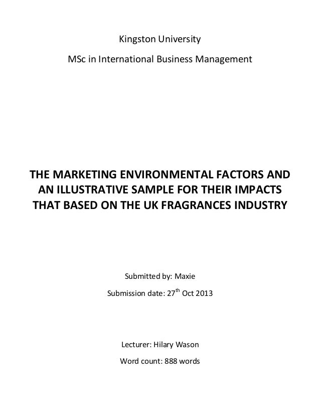 Kingston University MSc in International Business Management  THE MARKETING ENVIRONMENTAL FACTORS AND AN ILLUSTRATIVE SAMP...