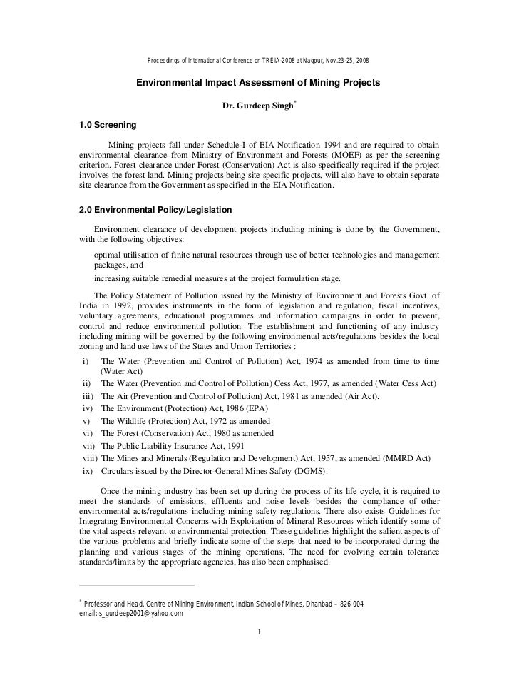 Environmental impact assessment of mining projects 17.03.09