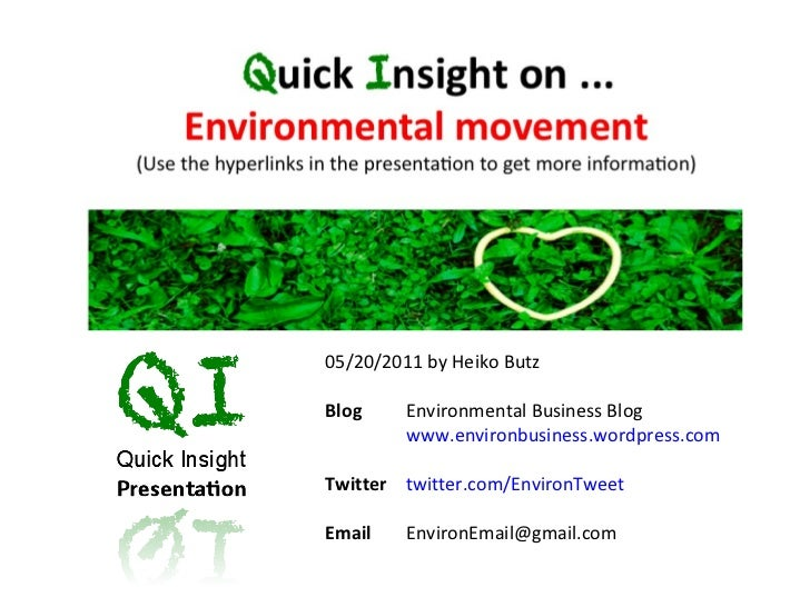 05/20/2011 by Heiko Butz Blog   Environmental Business Blog www.environbusiness.wordpress.com   Twitter  twitter.com/Envir...