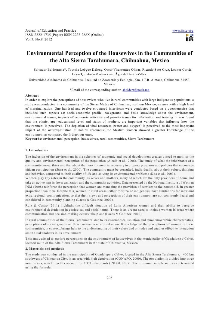 Environmental perception of the housewives in the communities of the alta sierra tarahumara, chihuahua, mexico