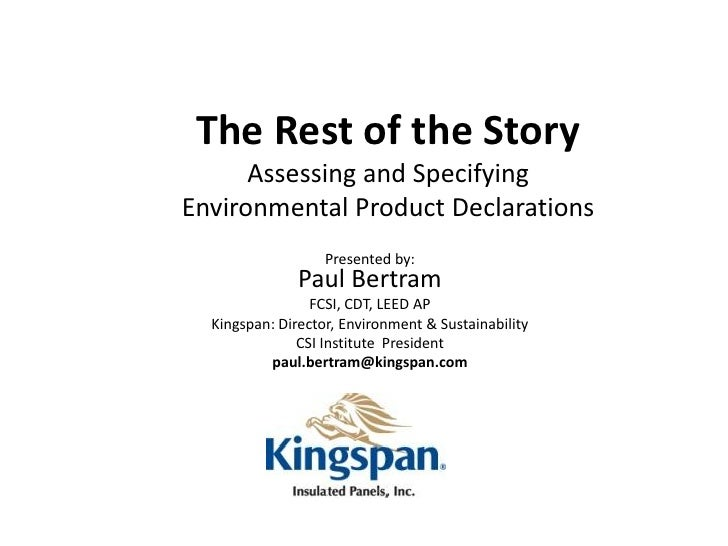The Rest of the Story: Assessing and Specifying Environmental Product Declarations