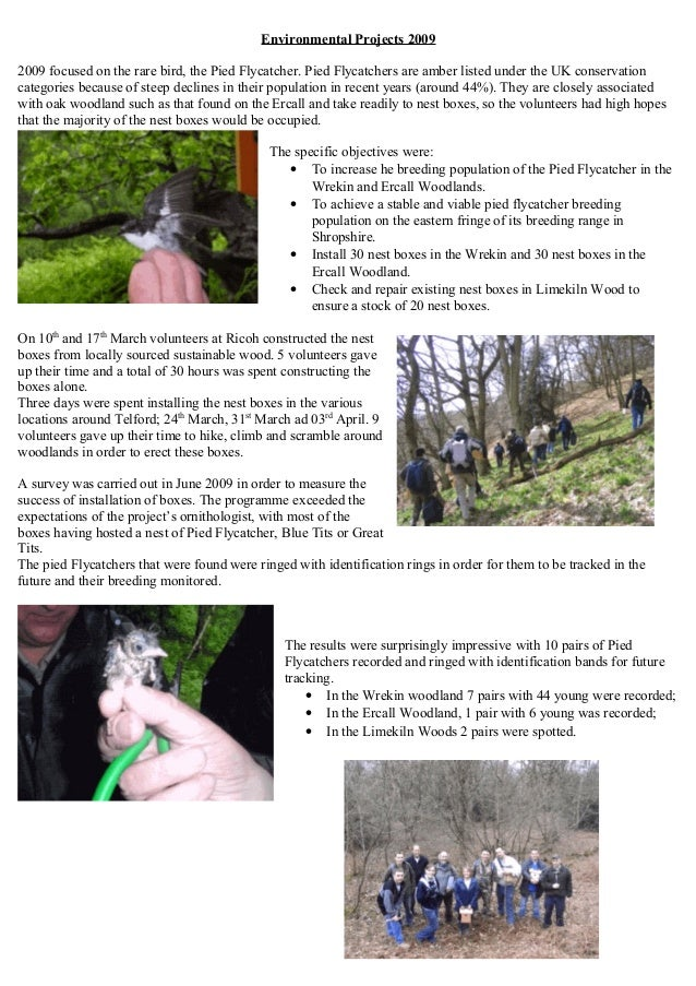 Environmental Projects 2009 2009 focused on the rare bird, the Pied Flycatcher. Pied Flycatchers are amber listed under th...