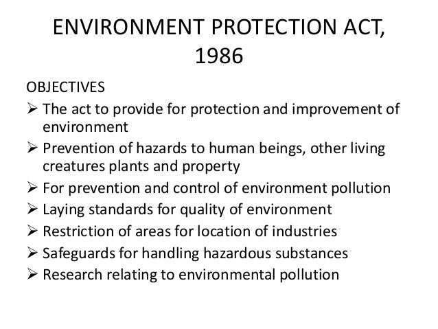 Useful Notes on the Environmental Protection Act 1986