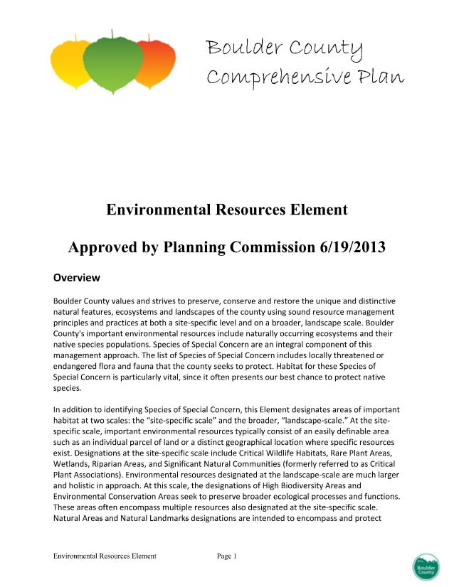 Environmental resource element of the boulder county comprehensive plan 2014