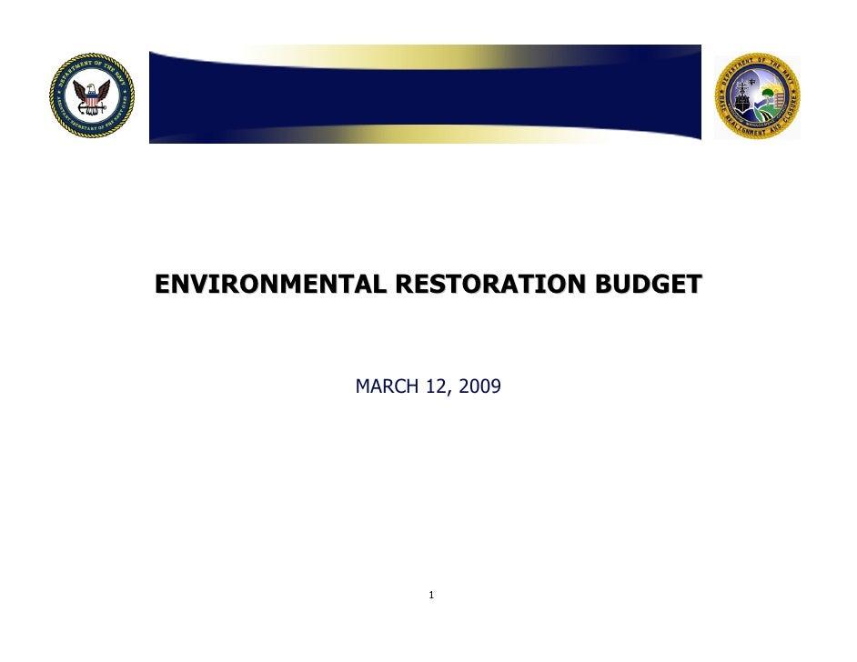 Navy Moffett Field Environmental Restoration Budget