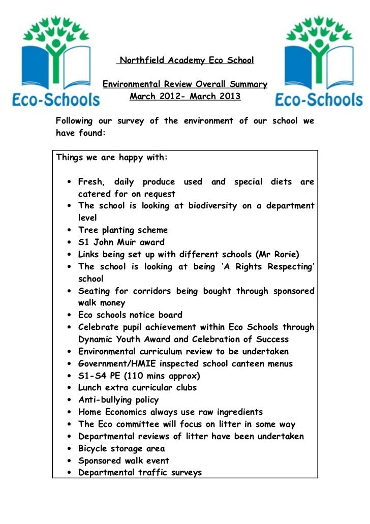 Northfield Academy Eco School          Environmental Review Overall Summary                March 2012- March 2013Following...
