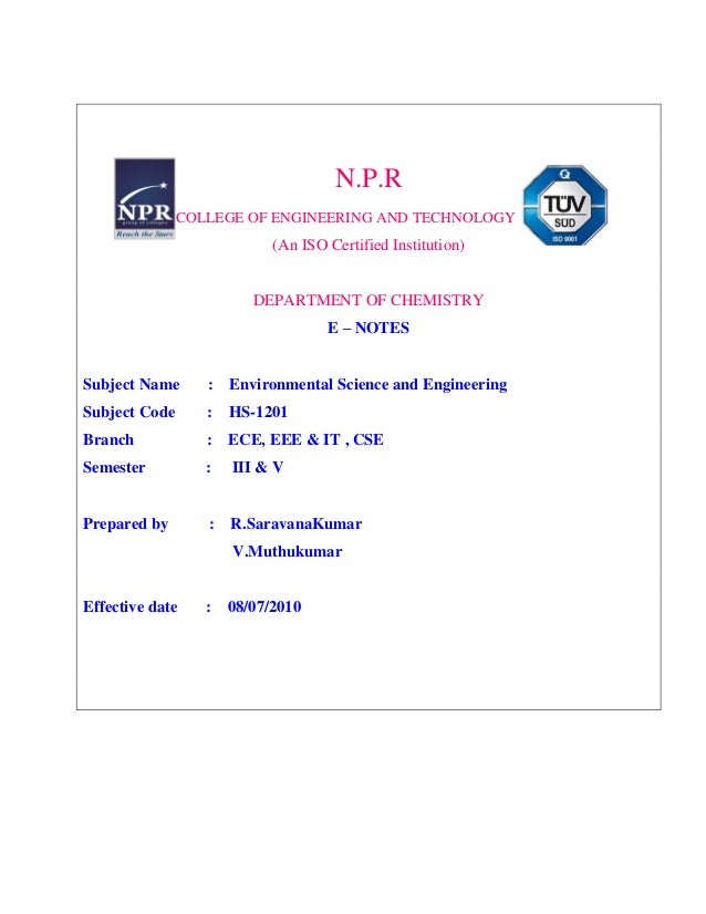 N.P.R COLLEGE OF ENGINEERING AND TECHNOLOGY (An ISO Certified Institution) DEPARTMENT OF CHEMISTRY E – NOTES Subject Name ...