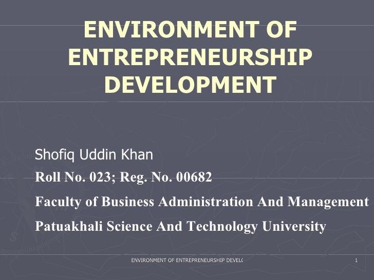 Environment Of Entrepreneurship Development
