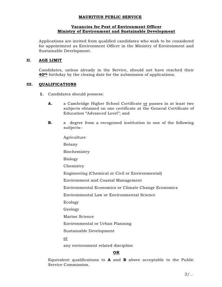 MAURITIUS PUBLIC SERVICE                       Vacancies for Post of Environment Officer                 Ministry of Envir...