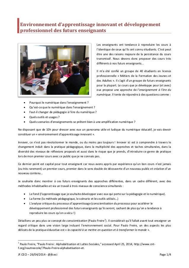 JF.CECI – 26/04/2014 - @jfceci Page 1/4 Environnement d'apprentissage innovant et développement professionnel des futurs e...