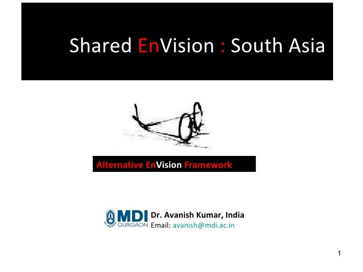Shared  En Vision  :  South Asia   Dr. Avanish Kumar, India Email:  avanish@mdi.ac.in  Alternative En Vision  Framework
