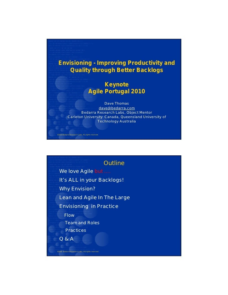 Envisioning - Improving Productivity and      Quality through Better Backlogs                                            K...