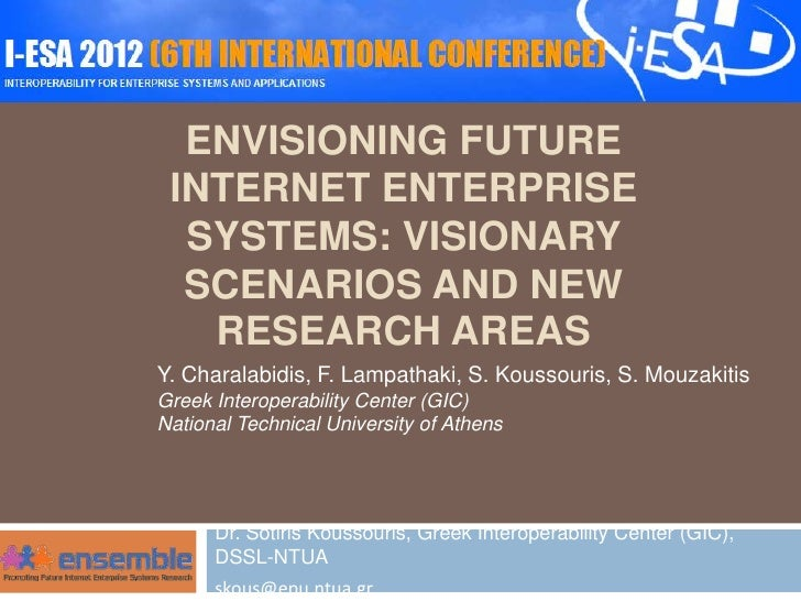 ENVISIONING FUTURE INTERNET ENTERPRISE  SYSTEMS: VISIONARY  SCENARIOS AND NEW   RESEARCH AREASY. Charalabidis, F. Lampatha...