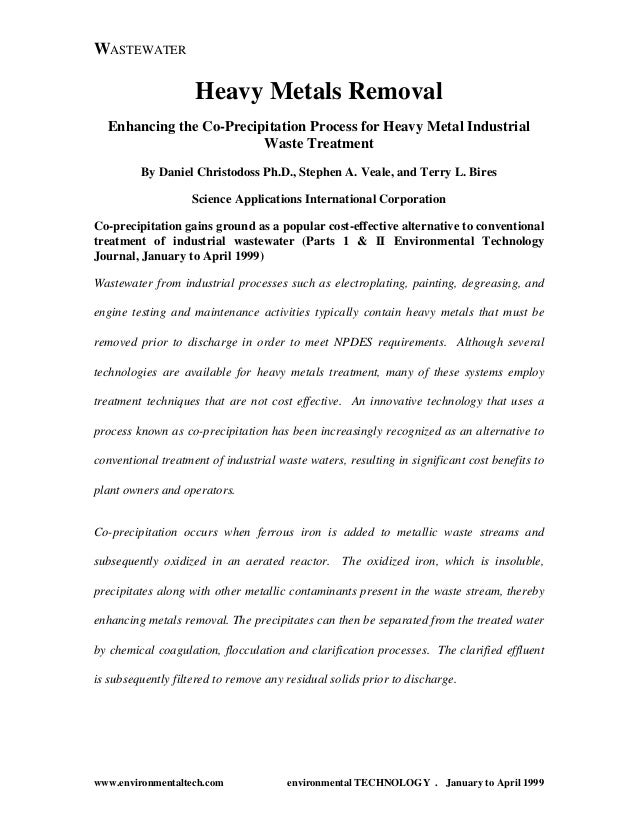 WASTEWATER  Heavy Metals Removal Enhancing the Co-Precipitation Process for Heavy Metal Industrial Waste Treatment By Dani...