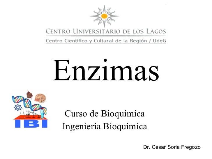Curso de Bioquímica  Ingeniería Bioquímica  Enzimas Dr. Cesar Soria Fregozo