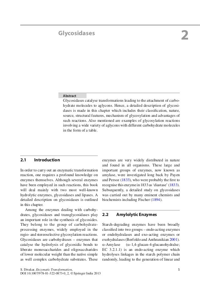 5S. Divakar, Enzymatic Transformation, DOI 10.1007/978-81-322-0873-0_2, © Springer India 2013 2.1 Introduction In order to...