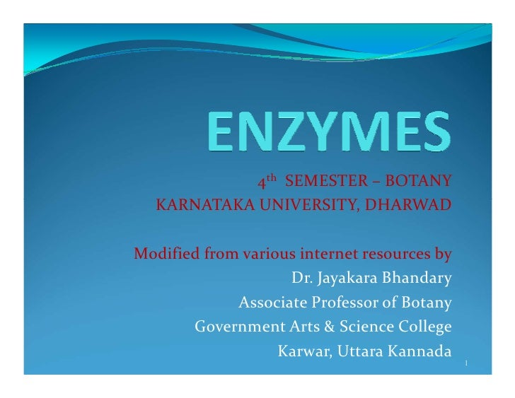 4th SEMESTER – BOTANY  KARNATAKA UNIVERSITY, DHARWADModified from various internet resources by                    Dr. Jay...