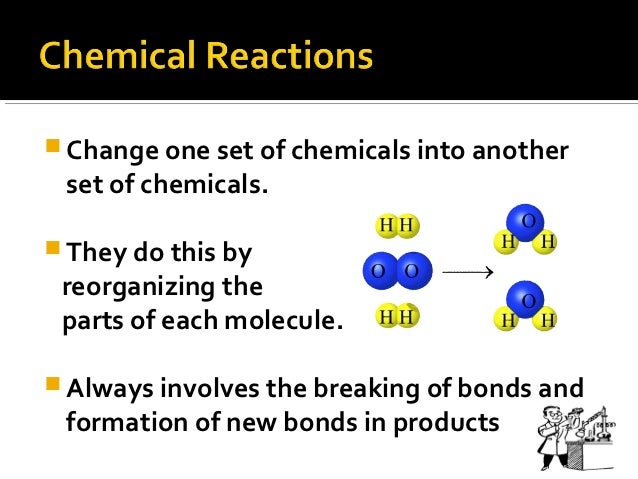  Change one set of chemicals into another set of chemicals. They do this by reorganizing the parts of each molecule. Al...