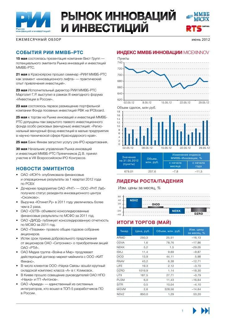 Ежемесячный Обзор РИИ ММВБ-РТС, июнь 2012