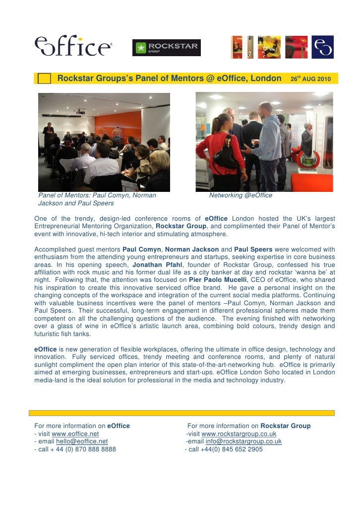 eOffice Press Release - Rockstar Group Event @ eOffice 2010 08 26