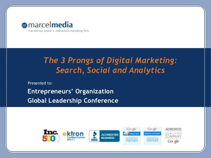 The 3 Prongs of Digital Marketing: Search, Social and Analytics<br />Entrepreneurs' Organization<br />Global Leadership Co...