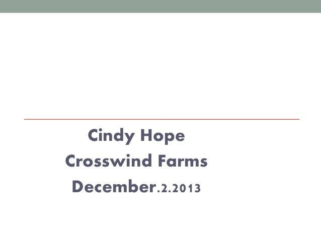 Cindy Hope Crosswind Farms December.2.2013