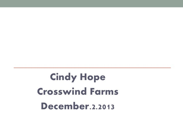 Eolfc 2013   crosswind farms - local food processing considerations