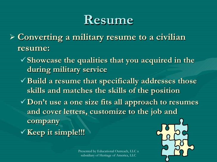 military to civilian resume writers