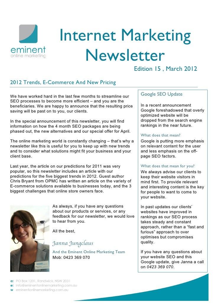 Internet Marketing Newsletter March 2012