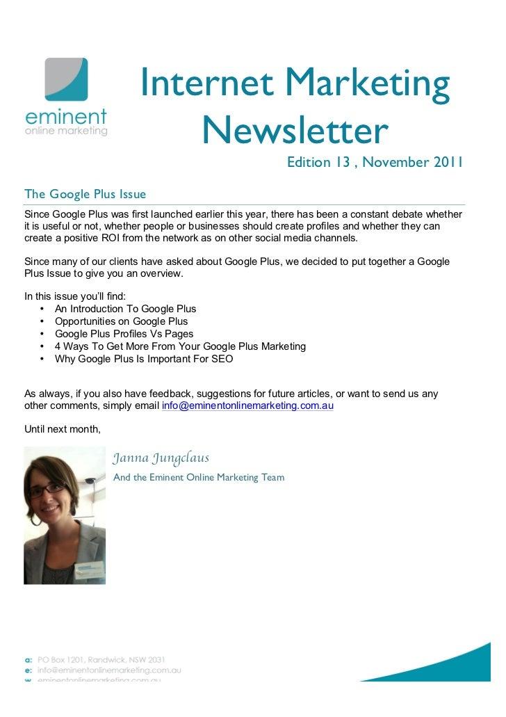 Internet Marketing Newsletter November 2011